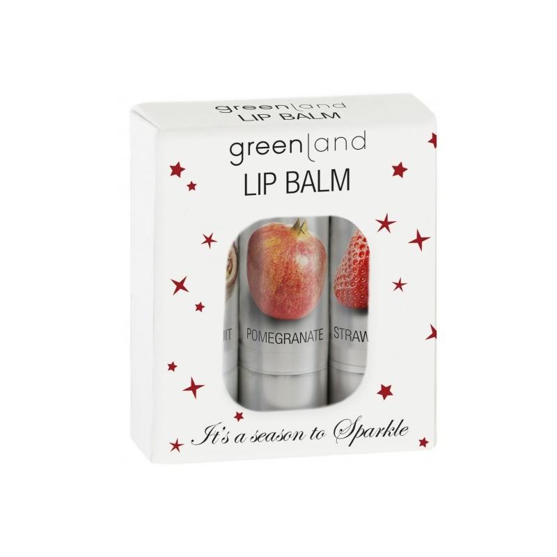 Greenland Huulepalsamite komplekt (passion,granaatõun,tooniv maasikas)