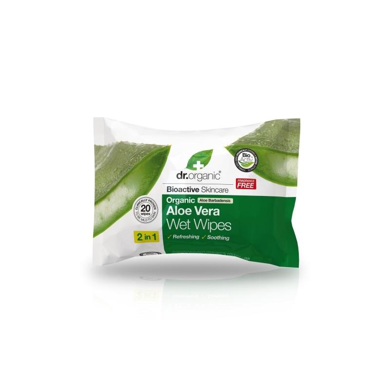 Dr.Organic Aloe Vera niisked salvrätikud 20tk.