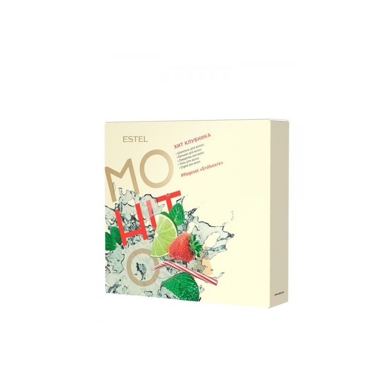 MOHITO Komplekt  HIT  5 Maasikas (Šampoon piparmünt 250 ml, palsam maasikas 200 ml,  kaitsev päikesesprei Roheline tee 100 ml, seerum juustele Maasikas (60 ml), dusigeel ananass 200 ml,)