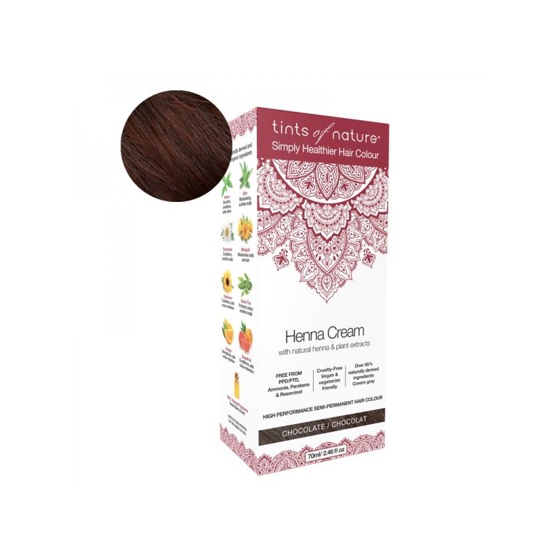Tints Of Nature Henna Cream Chocolate Looduslike henna- ja taimeekstraktidega kergvärv, šokolaad