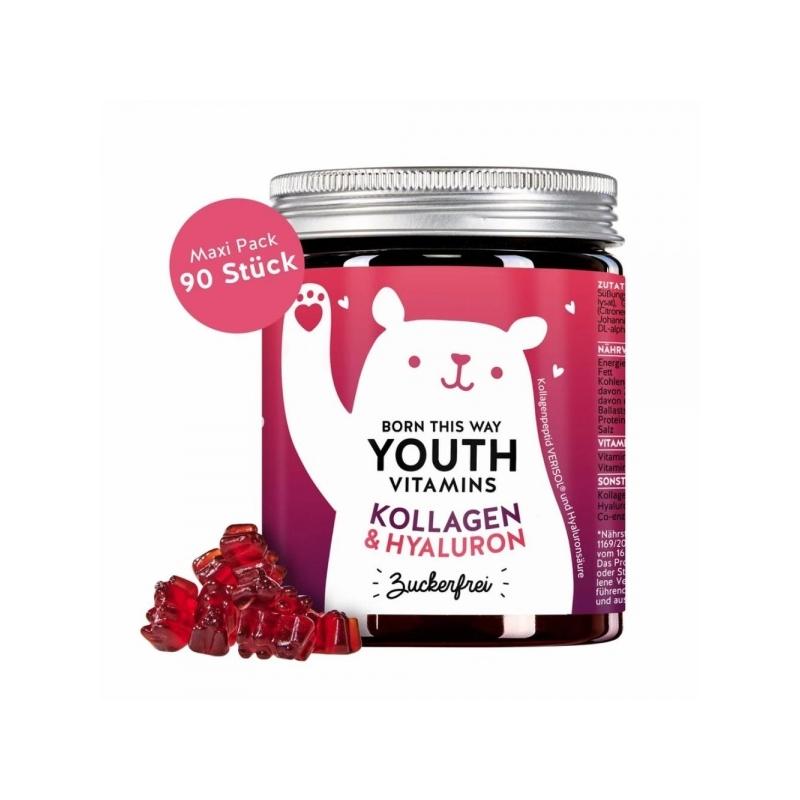 Bears With Benefits Youth Vitamins Kollageeni ja hüaluroonhappega, suhkruvaba 90tk
