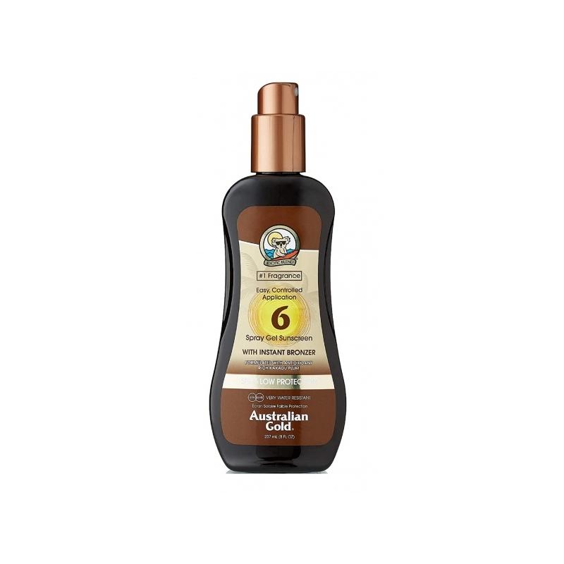 Australian Gold SPF 6 Spray Gel with Bronzer  päikesekaitsesprei isepruunistajatega 237ml