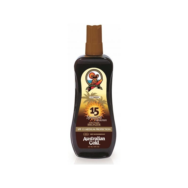 Australian Gold SPF 15 Spray Gel with Bronzer Veekindel päikesekaitsesprei isepruunistajatega  237 ml