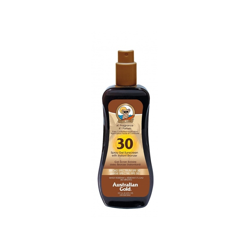 Australian Gold SPF 30 Spray gel with Bronzer Veekindel päikesekaitsesprei isepruunistajatega 237ml
