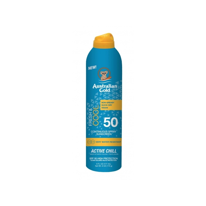 Australian Gold SPF 50 Continius Spray Active Chill päevitussprei 187ml