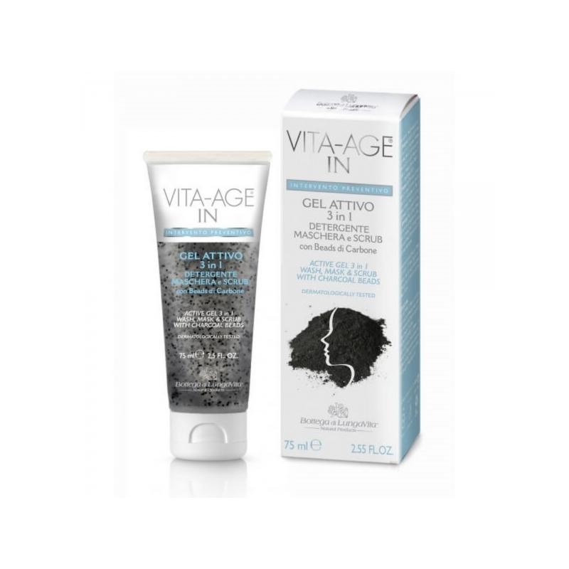 Vita-Age IN Active Gel 3 in 1: söehelmeid sisaldav puhastusgeel, mask ja koorija 75ml