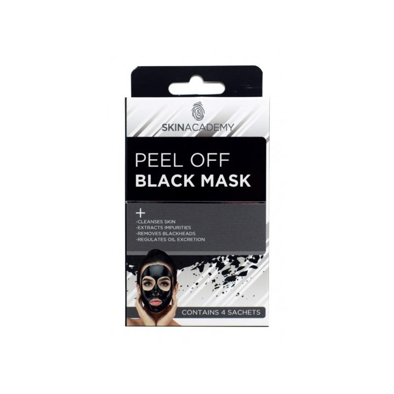 Skin Academy Sügavpuhastav mahakooritav must mask aktiivsöega 4x 8ml