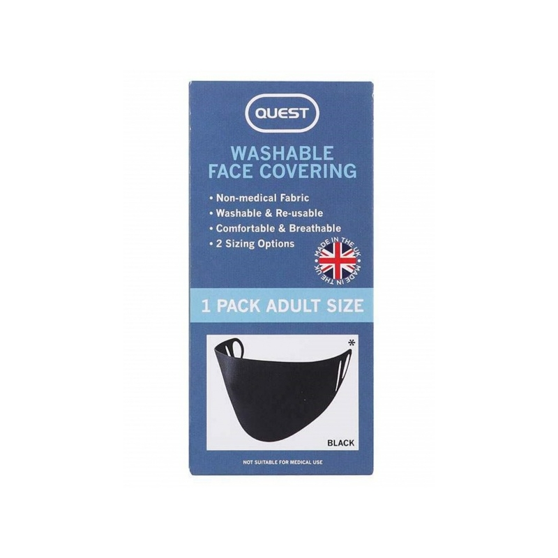 Skin Academy Quest Washable Face Covering Mask black 1 pc