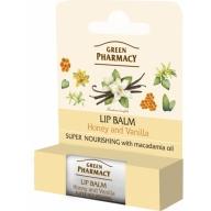 Green Pharmacy huulepalsam mee, vanilje ja makadaamiaõliga 978
